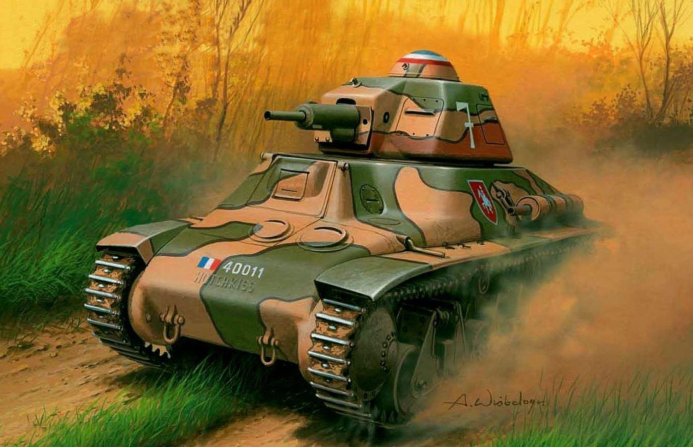 12 mai 1940 : première bataille de chars (d'envergure) de l'histoire (Hannut – Belgique). Char-Hotchkiss-2